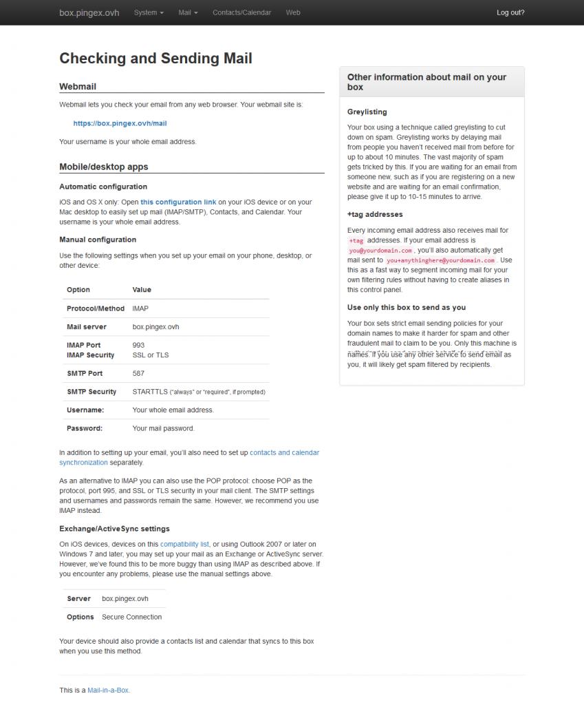 Instructions pour la mise en place de clients externes avec Mail-in-a-Box