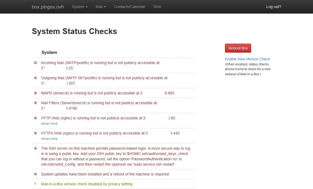 Statut et diagnostic de Mail-in-a-Box