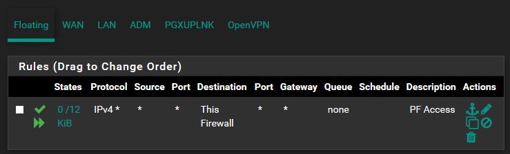 pfSense LAN: Règles flottantes