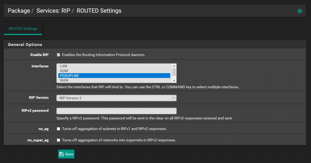 pfSense LAN: Configuration de RIP
