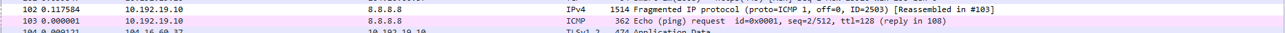 Fragmentation IPv4 sur Wireshark