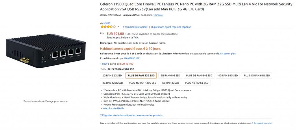 Le listing du J1900 sur Amazon
