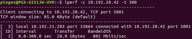 iperf à 800 Mbits/s au lieu de 900