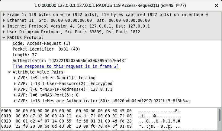 Exemple d'un Access-Request RADIUS